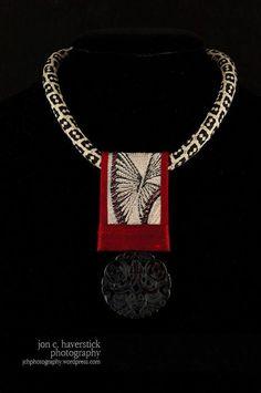 Gretchen Schields Fiber Art Jewelry, Mixed Media Jewelry, Textile Jewelry, Fabric Jewelry, Jewelry Art, Beaded Jewelry, Unique Jewelry, Handmade Jewelry Designs, Handmade Necklaces