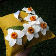 Wool Felt Daffodil Flowers pillow