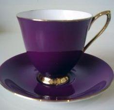 Royal Albert – Gaiety – Series www. Purple Love, All Things Purple, Shades Of Purple, Purple Stuff, Deep Purple, Tea Cup Set, My Cup Of Tea, Tea Cup Saucer, Teapots And Cups