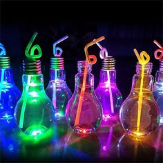 Drink Containers & Thermoses Luminous Plastic Light Bulb Shaped Bottle Drink Cup Water Bottle Party Home Deco & Garden Neon Birthday, 13th Birthday Parties, Birthday Party For Teens, Sweet 16 Birthday, Summer Bday Party Ideas, 13th Birthday Party Ideas For Teens, Sommer Pool Party, Glow In Dark Party, Black Light Party Ideas
