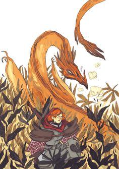 An orange dragon.