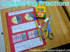 comparing fractions activity for free! Comparing Fractions, Teaching Fractions, Math Fractions, Teaching Math, Equivalent Fractions, Teaching Ideas, Dividing Fractions, Multiplication, Teaching Tools