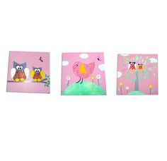 Pink Owls and Birds Childrens - Art 3 Canvases £29.99