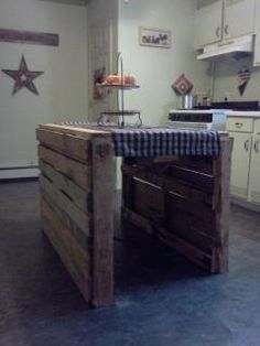 Actually my younger brothers made this kitchen pallet island for me, im in love with it!!