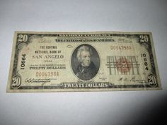 $20 1929 SAN ANGELO TEXAS TX NATIONAL CURRENCY BANK NOTE BILL! FINE #10664 RARE