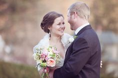 romantic bride and groom portraits, winter pink bouquet, rustic vintage new england wedding, Dreamlove Wedding Photography