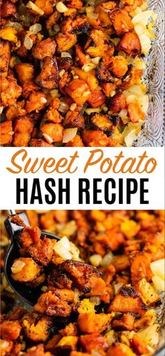 Sweet potato breakfast hash recipe with caramelized garlic and onion. So much flavor – this is perfect for breakfast! Sweet potato breakfast hash recipe with caramelized garlic and onion. So much flavor – this is perfect for breakfast! Veggie Dishes, Vegetable Recipes, Vegetarian Recipes, Cooking Recipes, Healthy Recipes, Side Dishes, Vegetarian Dinners, Sweet Potato Breakfast Hash, Sweet Potato Hash Paleo