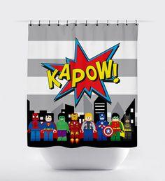 block superhero kapow shower curtains, superhero shower curtain,  fabric shower curtain, superhero bathroom, batman, spiderman, ironman by PrintArtShoppe on Etsy https://www.etsy.com/listing/266139365/block-superhero-kapow-shower-curtains