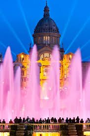 This spectacular, pink illuminated water feature is the Font Magica de Montjuic in Barcelona, Spain. I'd love to go on a warm Barcelona night to see this brilliant water feature. Places Around The World, Oh The Places You'll Go, Places To Travel, Around The Worlds, Madrid, Barcelona Travel, Spain And Portugal, Famous Places, Spain Travel