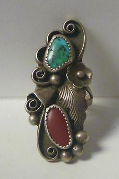 Vintage Pawn Navajo PHIL CHAPO Signed Turquoise & Coral Sterling Silver Ring Sz8