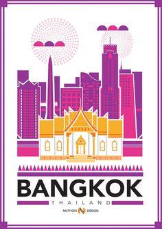 Bangkok City Illustration by Nuthon Phengsathon