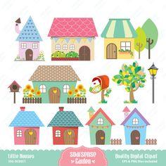 Little Houses Digital Clipart, Home Clip Art Felt Patterns, Applique Patterns, Felt Crafts, Paper Crafts, House Clipart, House Quilts, House Drawing, Kawaii, Little Houses