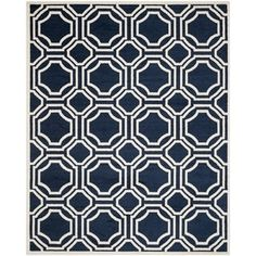 Safavieh Amherst Indoor/ Outdoor Navy/ Ivory Rug (11' x 16' Rectangle) - Free Shipping Today - Overstock.com - 20002607 - Mobile