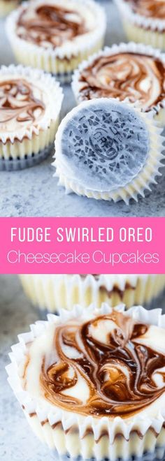 Fudge Swirled Oreo Bottom Cheesecake Cupcakes are a delicious twist on your standard cupcake. It's a fudge swirled mini cheesecake that sits on top of an Oreo cookie. What's not to love? #dessert #thestayathomechef