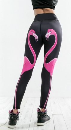 Women's Pink Flamingo Design High Waist Leggings These fun Women's Pink Flamingo Design High Waist Leggings are made with a medium weight breathable fabric that provide a comfortable sturdy fit.