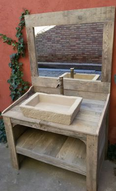 BATHROOM CABINET made from recycled pallet wood with imitation stone sink rusti Wood Pallet Recycling, Wooden Pallet Projects, Wooden Pallet Furniture, Mirrored Furniture, Pallet Crafts, Recycled Pallets, Pallet Ideas, Wooden Pallets, Rustic Furniture
