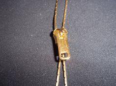 1980's Gold Tone Zipper Necklace by SeasideSparklesMB on Etsy, $6.99