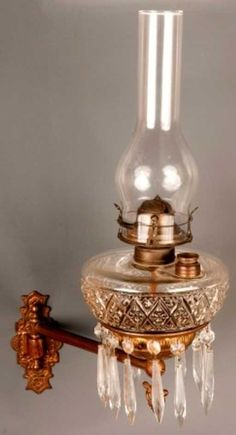 79: Victorian Bracket Lamp with prisms ca1870