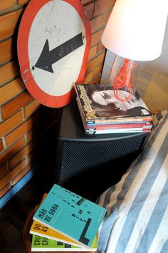 Traffic sign, magazines, books and bricks: lovely.