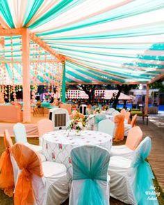 Pastel orange and blue decor #wedmegood #indianwedding #decor #decoration #decorideas #orange #blue #upholstery #wedding #mehendi #mehendidecor