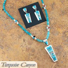 Zuni Native American Turquoise Pendant Necklace Earrings by Edaakie SKU#223507