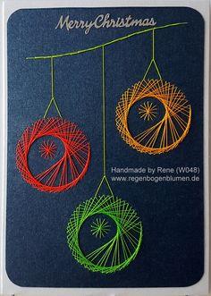 Fadengrafik - GrußKarten - Set mit dem abgebildeten Fadengrafik-Motiv gearbeitet mit Ultra-Neon-Garn auf schwarzen Starlight-Karton  bestehend aus: 1 Doppelkarte / Klappkarte im Format 10,5 x...
