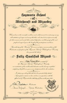 Hogwarts Inspired Diploma