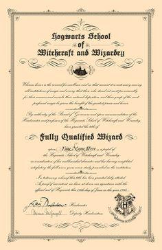 Hogwarts Inspired Diploma - Harry Potter. $15.00, via Etsy.  Where's mine???