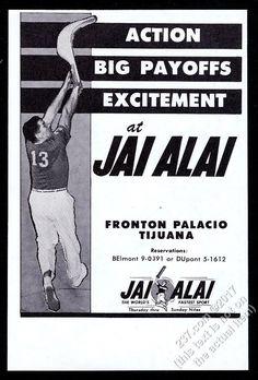 1964 Jai Alai player photo Fronton Palacio Tijuana Mexico vintage print ad | eBay
