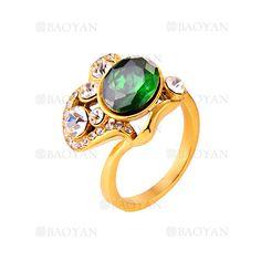 anillo de piedra verde estilo brillante acero dorado inoxidable -SSRGG271901