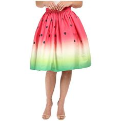 Unique Vintage Novelty Watermelon Flare Skirt (Print) Women's Skirt ($72) ❤ liked on Polyvore featuring skirts, pattern skirt, print skirt, patterned skater skirt, print skater skirt and circle skirt
