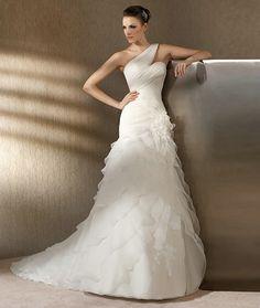 One Shoulder Straps Layers Wedding Dress