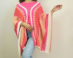 Easy crochet summer poncho uses lots of variations of simple crochet stitches for fun and interest. Free pattern and video tutorial included! Crochet Summer, Simple Crochet, Free Crochet, Crochet Poncho Patterns, Crochet Stitches, Fingering Yarn, V Stitch, Yarn Projects, Crochet Designs