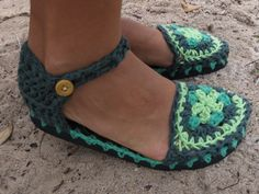 Sapato de crochê - modelo boneca mandala