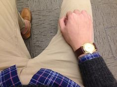 Style-a-Porter -- gold watch , brown loafers.