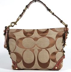 "Coach Khaki Signature & Brown Leather ""Carly"" Hobo Shoulder Bag - Purse - #Coach #Hobo"