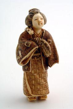 Mammoth Ivory Netsuke - Japanese Geisha