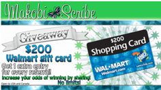 The giveaway is open to US & Canada and ends July 19, 2012 @ midnight EST. Sign up for a chance to win a $200 Walmart Gift Card, if you get 5 friends to sign up, you'll be entered to win another, top secret prize #sweepstakes