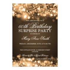 Surprise Birthday Party Gold Sparkling Lights Personalized Invite 60th Invitations 70th Parties