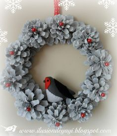 pinecone wreath with pearls in center of pinecones and bird embellishment Pine Cone Art, Pine Cone Crafts, Wreath Crafts, Diy Wreath, Pine Cones, Holiday Crafts, Tulle Wreath, Wreath Ideas, Holiday Decor