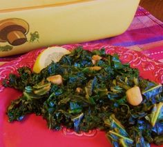 Smokey Garlic Lemon Kale.  Cooks in less than 10 minutes, made me a Kale Convert. In fact kale is my new fave veggie.