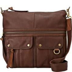 medium brown leather cross-body purse that is not too big and not too small...