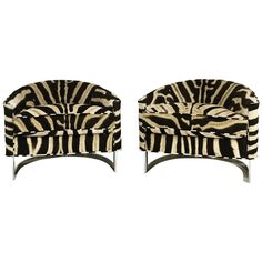 Pair of Milo Baughman Club Chairs with Chrome Frame in Zebra Hide | From a unique collection of antique and modern club chairs at https://www.1stdibs.com/furniture/seating/club-chairs/