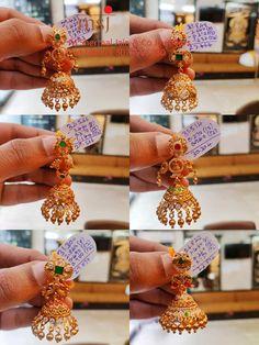 Temple Jewellery, Gold Jewellery, Wedding Jewelry, Gold Ring Designs, Gold Earrings Designs, Telugu Wedding, South Indian Bride, Latest Jewellery, Ear Rings