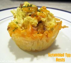 Scrambled Egg Nests.  A great breakfast that combines scrambled eggs in a nest made of hash browns.  #egg #easter #breakfast