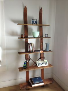 Display shelf using old wooden skis- available for sale