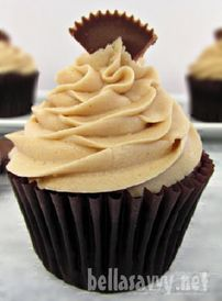 Dark Chocolate cream filled Cupcakes with Peanut Butter Cream Frosting -- Perfect for a class party!
