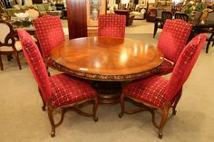 Round Dining Table with 5 Red Chairs - Colleen's Classic Consignment, Las Vegas