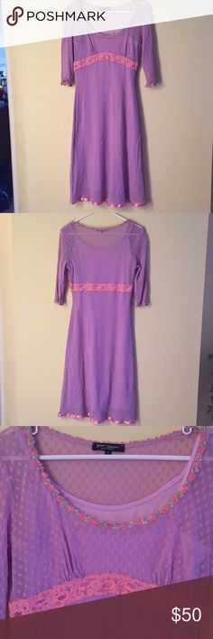 Vintage Betsey Johnson Dress Gorgeous purple vintage Betsey Johnson dress circa early 90s. Dress is a size large with great stretch. Could honestly fit S, M, or L. Midi length. This is an amazing find. Betsey Johnson Dresses
