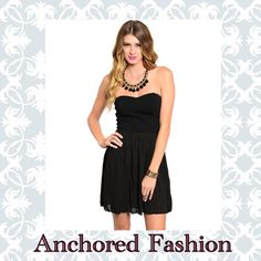 ⚓️Perfect Little Black Dress⚓️ Adorable black mini dress. RUNS ONE SIZE SMALL. 100% polyester. Skirt is pleated and sheer. Bust stretches. Could be worn with or without strapless bra. The dress has a side zipper. All zippers have been tested for function. Made in the USA.  Dresses Mini